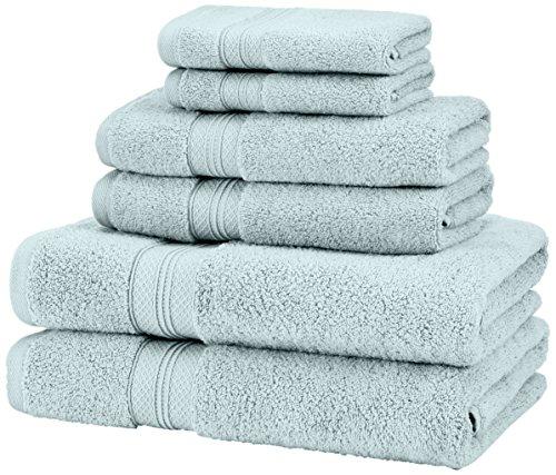 Amazon Brand – Pinzon 6 Piece Pima Cotton Bath Towel Set - Spa Blue