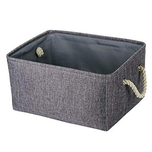 RRTY Cesta de almacenamiento de tela de lino plegable grande para niños, juguetes de almacenamiento de ropa, bolsa de almacenamiento con asa (2,36 x 26 x 16)
