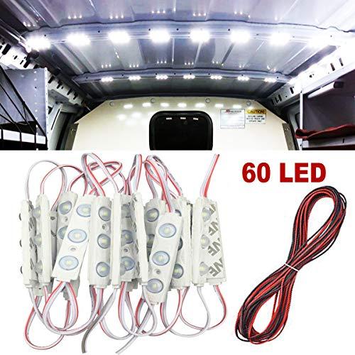 Caxmtu Kit de 60 LED pour intérieur de voiture - Blanc - 12 V CC