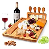 Bamboo Cheese Board Knife Set Charcuterie Platter and Serving Meat Board, Wooden Serving Platter, Unique Gifts for Christmas Wedding Birthday Anniversary