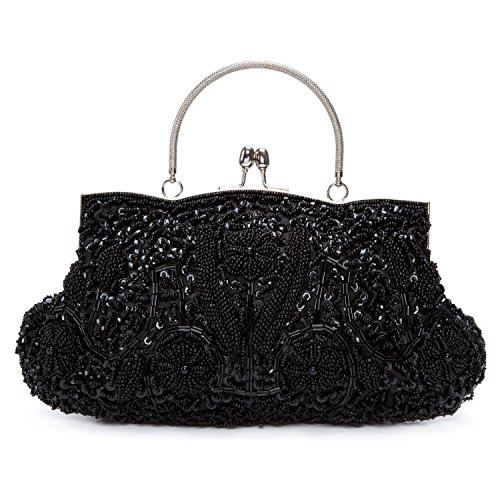 BAIGIO Cartera de Mano Fiesta, Clutch Mujer Bolso de Noche Perlas Bolso de Embrague para Ceremonia Boda Novia (Negro)