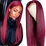 UNice Hair Burgundy Straight 13x4 Lace Front Human Hair Wig for Black Women Brazilian Remy Hair Red Human Hair Wig Pre Plucked with Baby Hair 99J Color 18 inch