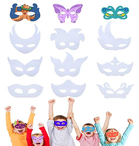 DIY Graffiti Paper Masks Party Favors Dress up Masks,Party Supplies with 12 Different Types,for Jungle Safari Theme Birthday Party/Cosplay Halloween Party