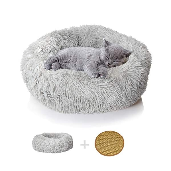 nononfish Puppy Bed for Small Medium Dog Soothing Dog Bed Calming, Anti-Anxiety Fluffy Deep Sleep Plush Bed with Bamboo Dog Cooling Mat Available…