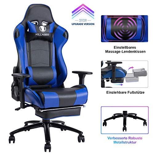 KILLABEE Gaming Stuhl - Verstellbares Massage Lendenkissen Einziehbare Fußstütze Verstellbare Armlehne und hohe Rückenlehne aus Leder im Rennstil für Computer Schreibtisch oder als Leder Bürostuhl