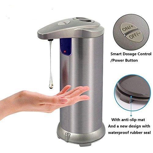 Kaxima Distributeur de savon automatique, plus et moins automatique infrarouge induction inox + plastique, adapté pour la cuisine et Salle de bain (couleur champagne)