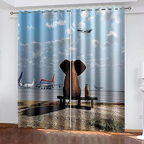 DRFQSK Cortinas Opacas Térmicas Aislantes para Salon Cortinas con Ojales para Dormitorio Impresión 3D Elefante Animal Avión Creativo Cortinas para Ventanas 2 Piezas 264 X 214 Cm(An X Al)