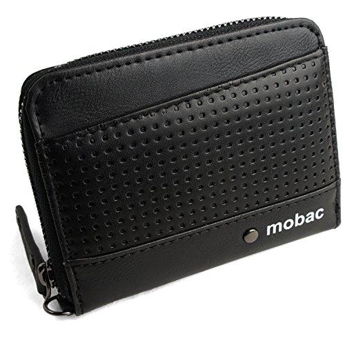 [モバック] mobac 小銭入れ コインケース ラウンドファスナー メンズ メッシュエンボス (ブラック)