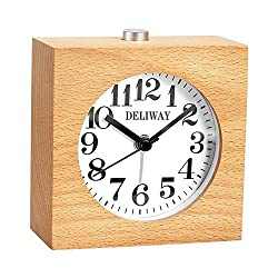 DELIWAY Non Ticking Wood Alarm Clock with Nightlight and Snooze/Ascending Sound Alarm/Simple to Set Clocks, Battery Powered (Beech Wood)