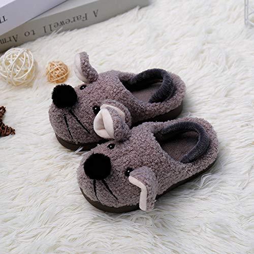 SWX-FlipFlop Zapatillas de algodón de Dibujos Animados para niños cálidos Interiores Modelos de otoño e Invierno Antideslizantes con elástico para niños Gris 14 15