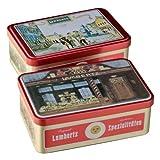 Metall Dose Zum Fest (300g, Maße 20 x 13 x ca. 11cm) Original Lambertz Geschäftsansicht, befüllt mit feinen Printen, Lebkuchen, Zimtsternen und vielen weiteren Lambertz-Spezialitäten. €26,50/kg