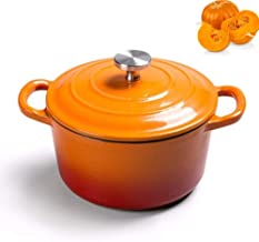 Cooking Pot Enameled, Dutch Ovens 14cm with Handle and Lid Suitable for All Heat Sources,Pink Detazhi (Color : Orange)