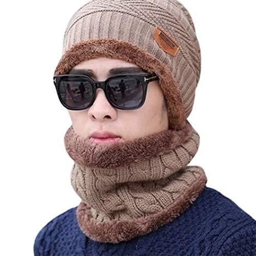 Bufanda a prueba de viento Sombrero de invierno Gorro de lana Gorro con capucha Bufanda Earflap Knit Cap (Khaki)