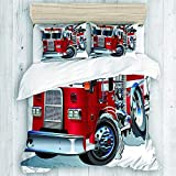 Funda nórdica, ayuda de emergencia para vehículos de la brigada de bomberos para transporte público de bomberos Juego de funda nórdica para camiones temáticos, sin edredón, funda de cama de dise?o lin