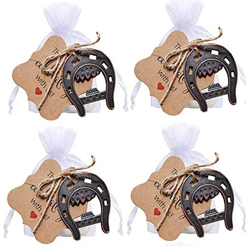 awtlife 30pcs Cast Iron Lucky Horseshoes Opener with Tag Cards Sheer Bag for Vintage Wedding Favors Party Favor Decorations