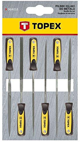 Topex 06A010 Limas de aguja para metal, 6 piezas