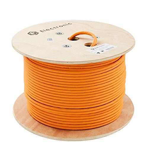 LW Electronic Highquality Verlegekabel Cat7A 100m (Duplex) Gigabit Halogenfrei POE BauPVO Schirmung Netzwerkkabel S/FTP PIMF 1200MHz 23AWG LSZH Verkabelung LAN Kabel Datenkabel Orange Rohkabel