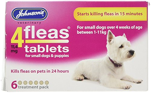Johnsons Veterinary Products 4Fleas Tablets for Puppies and Small Dogs Treatment Pack, Pack of 6