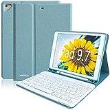 iPad Keyboard Case for iPad 9.7 2018 (6th Gen) iPad 2017 (5th Gen) iPad Pro 9.7 iPad Air 2 & 1 Detachable Bluetooth Keyboard Magnetic with Pencil Holder(Lake Blue)