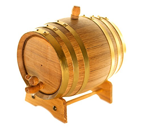 American Oak Barrel | Handcrafted using American White Oak | Age your own Whiskey, Beer, Wine, Bourbon, Tequila, Hot Sauce & More (20 Liter or 5.3 Gallons, Gold (Brass Hoops))
