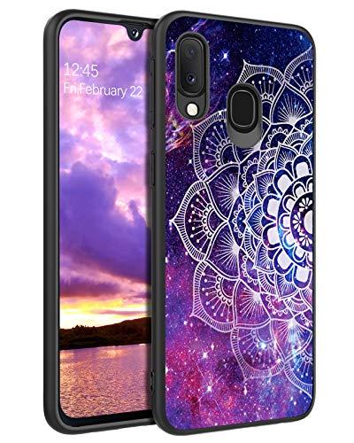 YINLAI Samsung Galaxy A20e Hülle, Handyhülle Samsung A20e Lila Mandala Nebula Muster leuchtet im Dunkeln mit TPU Bumper Hybrid PC Schale rutschfeste Fallschutz Kratzfest Schutzhülle für Samsung A20e