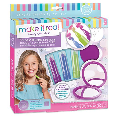 Make It Real - Color Changing Lipstick. Tween Girls Lipstick and Compact Mirror Set with Lipstick That Changes Color When Applied. Includes 3 Great Shades of Lipstick and Cute Compact Mirror