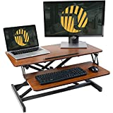 FEZIBO Adjustable Height Standing Desk Converter– 32 inches Stand up Desk, Ergonomic Tabletop Workstation, Easily Sit to Stand Desk Espresso