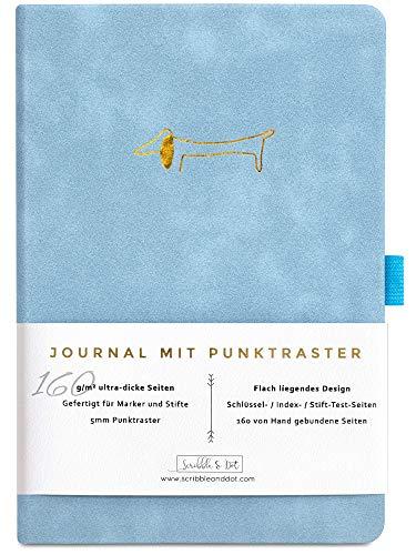 Bullet Journal - Dotted Notizbuch A5 - Gepunktet Tagebuch - Premium A5 Dickes Papier 160gsm Handgebunden - Notizbuch Diary - Perfektes Journal mit Punktraster für Künstler und Kreative -Dackel