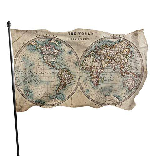 GOSMAO Bandera de jardín, Mundo en hemisferios, Mapa Antiguo, Colores Vivos y Resistentes a los Rayos UV, con Doble Costura, para Patio, Bandera de Temporada, Banderas de Pared, 150 x 90 cm