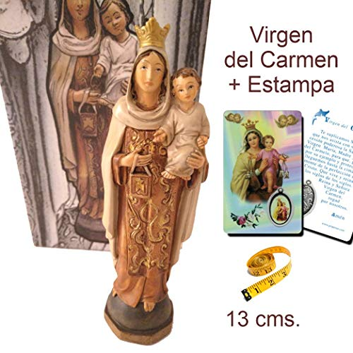 Figura Virgen del Carmen 13 cms. en Resina, Pintada a Mano + Estampa con Medalla de Regalo.