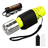 Jisell Scuba Diving Flashlight 3 Modes Handheld IPX8 Waterproof Level Underwater Torch Scuba Safety Light with Battery Charger