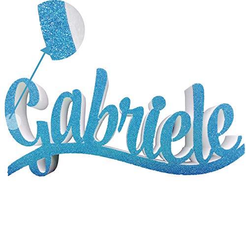 Scritta Nome Polistirolo Personalizzato Autoreggente Glitterato Compleanno-Nascita-Battesimo-Comunione