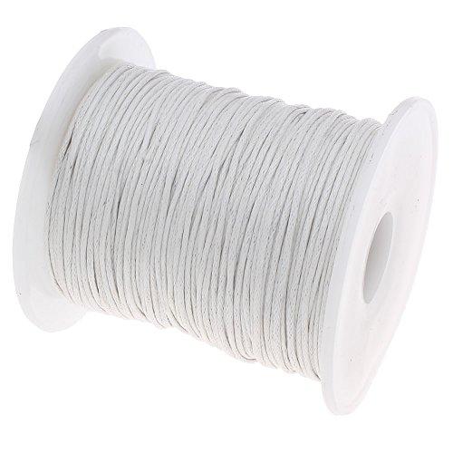 75 Meter Gewachste Baumwollekordel Weiss 1mm Gewachst Schmuck Schnüre Wachs Fäden Perlenband Bastelschnur für Schmuckherstellung