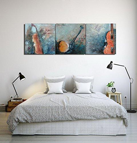Tema de la música violonchelo violín_Cuadro de pintura al óleo moderna Impresión de la imagen en la lona Arte de la pared para la sala de estar,Dormitorio,decoración del hogar,3 piezas 40x40,con marco