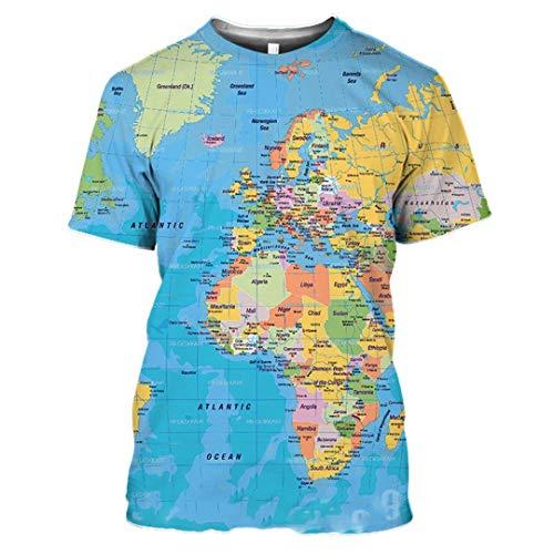 Camiseta con Estampado 3D de Anime Streetwear World Map Hombres Mujeres Hip Hop Rock Camiseta de Moda 03 Asian Size M
