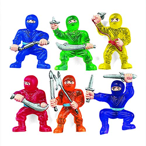 Fun Express Vinyl Ninja Warrior Toys (48 Pieces) Party Favors, Classroom Counters, Carnival Prizes