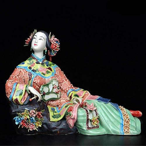 Skulptur Statuette Antike chinesische Porzellan Figur Home Decor Statue Figur Painted Ceramic Classical Ladies für Büro Wohnzimmer Dekoration