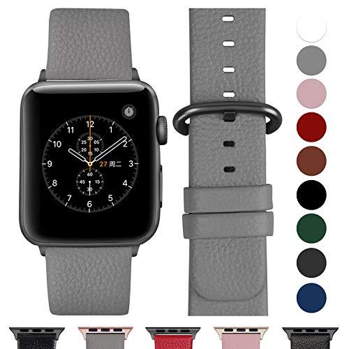 Cinturino per Apple Watch 42 mm/44 mm, Cinturino Pelle Compatibile con Apple Watch Serie 5, Serie 4, Serie 3, Serie 2, Serie 1, Sport, Nike+, Hermès, Edition, Grigio + Fibbia Grigia fumé