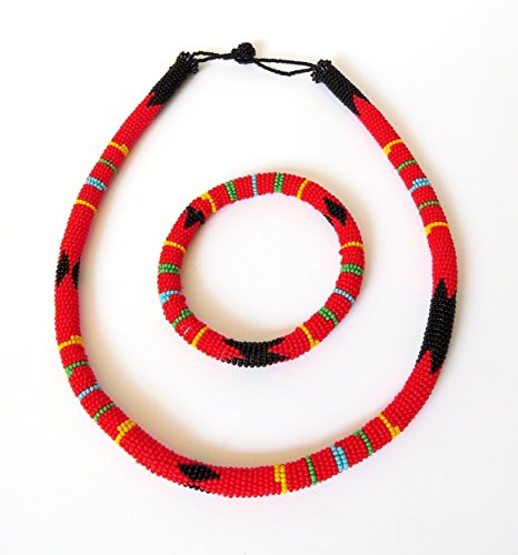 African Zulu beaded necklace and round bracelet set - Red - Gift for her