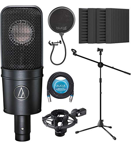 """Audio-Technica AT4040 Cardioid Condenser Microphone Bundle with Blucoil 20-FT Balanced XLR Cable, Pop Filter, Adjustable Microphone Tripod Stand, and 4-Pack of 12"""" Acoustic Foam Isolation Panel Wedges"""