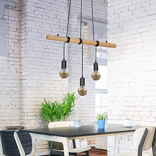 Briloner Leuchten lámpara de suspensión, 3 luces, madera-metal, 3x E27, máx. 25 vatios, negro, W