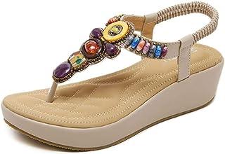 comprar comparacion 2020 Sandalias Mujer Chanclas Tacon de Cuña Plataforma del Verano Cómodos Zapatos Bohemias Las Sandalias Planas