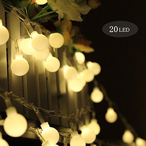 Guirlande Lumineuse Boule, Morbuy Batterie Lumineuse Boules 20 Led boules Longueur 2 Mètres Lumière blanche chaude Alimenté par Batterie balle Ficelle Lumière Décoration Pour La Saint Valentin Noël Fêtes Mariage d'autres Fêtes