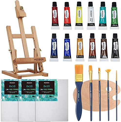 MEEDEN Acrylic Painting Set with 16.8'' Beechwood Tabletop Easel, 12 Acrylic Paints, 3 Canvas Panels, 5 Paint Brushes, Wooden Palette, Art Painting Supplies for Kids, Beginners or Budding Artists
