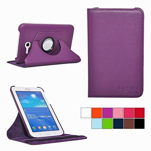 COOVY® Cover für Samsung Galaxy TAB 3 LITE 7.0 SM-T110 SM-T111 Rotation 360° Smart Hülle Tasche Etui Case Schutz Ständer   Farbe lila