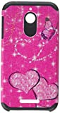 Asmyna Asmyna Advanced Armor Protector Cover for HTC Desire 510 - Retail Packaging - Glittering Butterfly/Heart/Hot Pink/Black