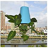 Upside-Down Plant Flower Pot Hanging Planter - Indoor Sky Upside Down Recycled Hanging Planter Pot Space Saving Recycled Inverted Plastic Planter Pot for Balcony Garden Indoor Home Decoration (Blue)