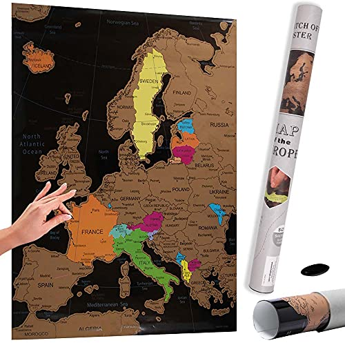 Bakaji Poster Mappa Europa da Grattare Mappamondo Cartina Geografica Europea Scratch Off Dimensione 70 x 54 cm da Parete Muro Design Moderno Custodia Cilindro e Lima Idea Regalo