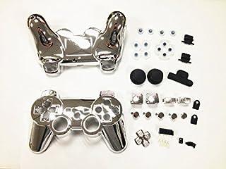 CrownTrade® 互換品 PS3 Playstation 3 プレイステーション 3 対応 交換用 コントローラ カバー クローム メッキ ケース + コントローラー ボタン セット R2 L2 、 サムスティック ボタン 、 シェル M...
