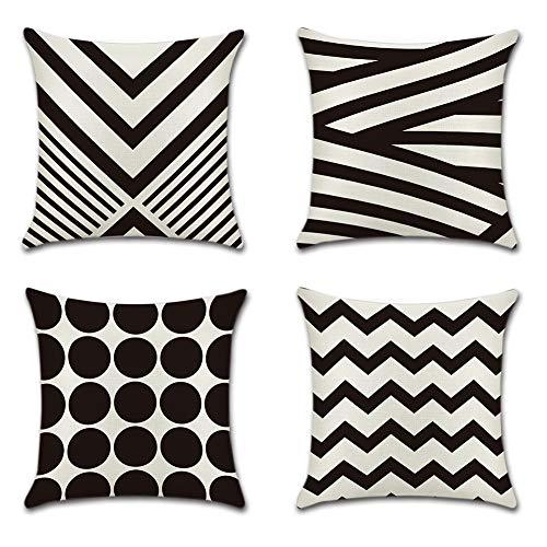 JOTOM Schwarz Weiß Geometrisches Muster Kissenbezug Leinen Baumwoll Kissenhülle Kopfkissenbezug Dekokissen 45 x 45cm (Schwarze Tupfen)